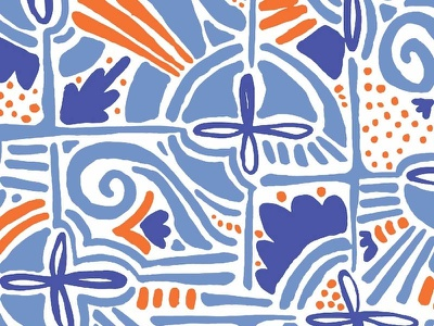 Abstract Floral Shapes    Seamless Pattern shapes seamless pattern blue orange design modern seamless packaging abstract tileable pattern vector surface design