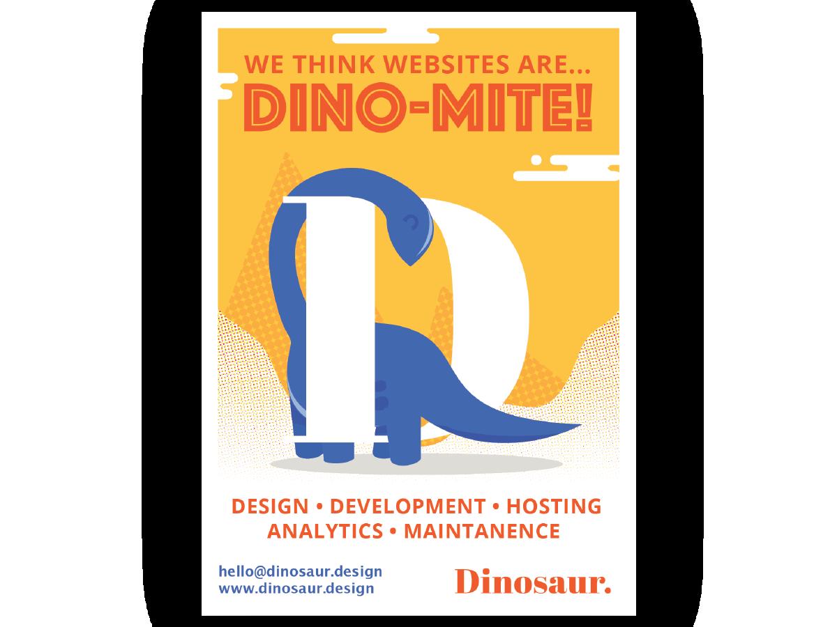 Dinosaur Flyer web development web desgin web ad art brand character vector illustrator identity lettering minimal illustration website flat web typography branding logo design
