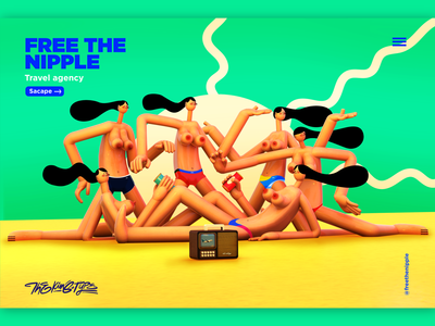 FREE THE NIPPLE art character design 3d ilustration 3d design. creative arts illustratiom vector ui illustration art director design illustration