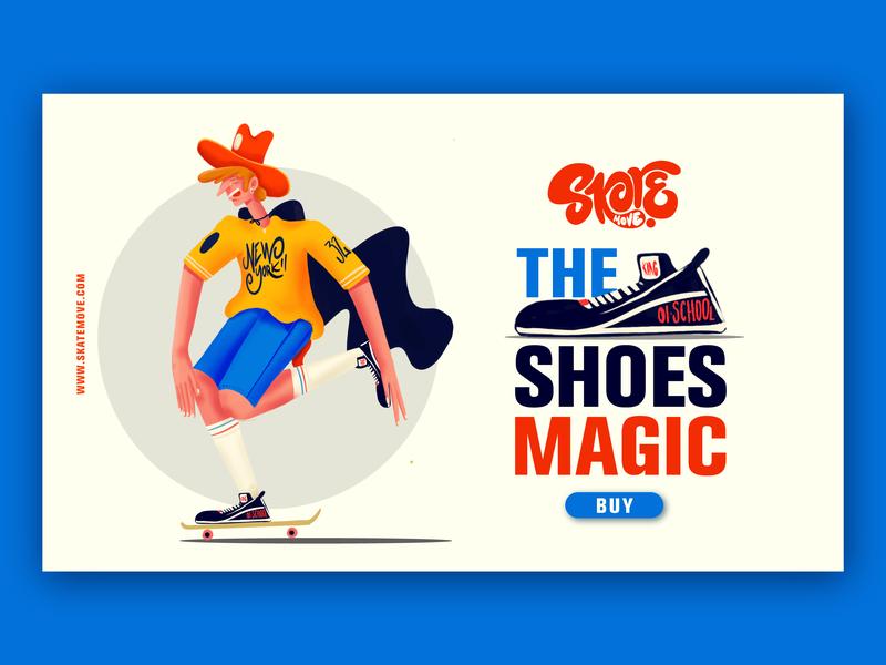 The Magic Shoes Skate Move icon website adobe logo design. arts app web ux ui branding typography design vector lettering graphicdesign illustratiom illustration art director design creative illustration