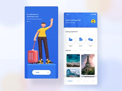 Travel App 🏝 ux ui isometric illustration blender3d design 3d