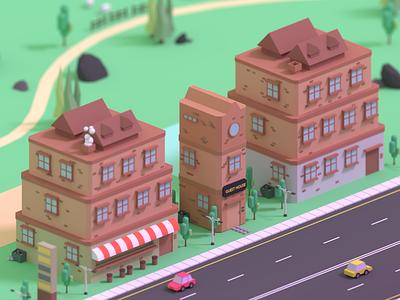 Guest House blender3dart blender3d low poly bulding building design animation design illustration 3d