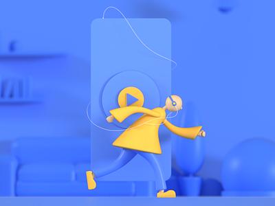 Run. ui blender3dart blender3d illustration design 3d