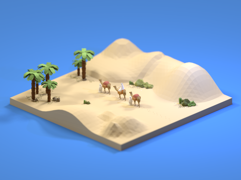 Finding Oasis miniature art isometric low poly blender3dart blender3d design 3d