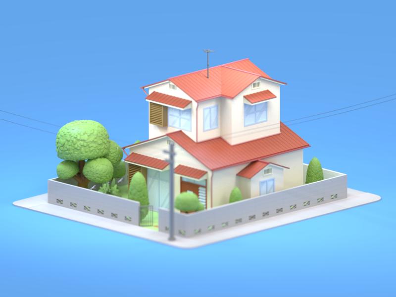 Nobita House nobita doraemon ui design app design animation building design ui low poly isometric blender3dart illustration blender3d design 3d