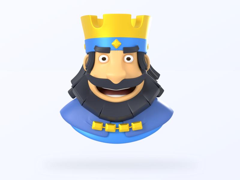 I am The King game supercell clashroyale ux ui miniature art blender3dart illustration blender3d design 3d wip