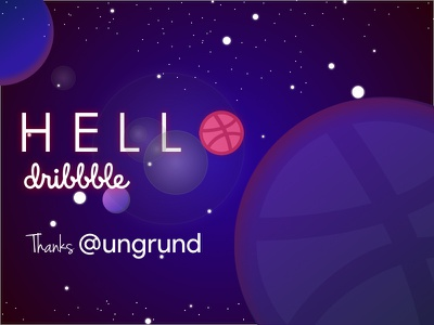 Hello Dribbble shot invites sketch-illustration hello ungrund firstone dribbble