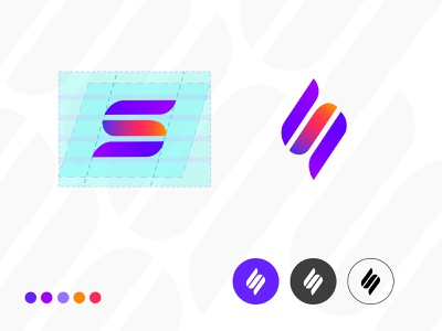 S Letter scale branding idea logo design simple purple gradient orange purple typography s monogram alphabet s letter symbol