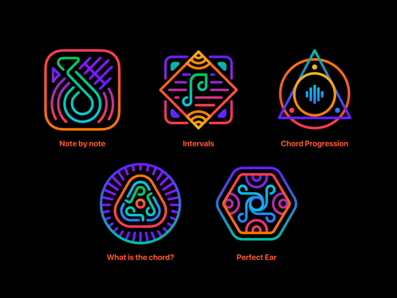 Train Your Ear app design ears symbol perfect progression chord interval note music ear