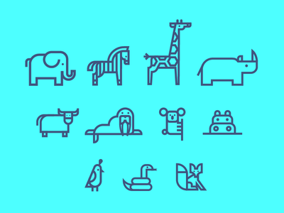 Animal Icons animals line vector blue elephant zebra illustration graphic design poster icon icons