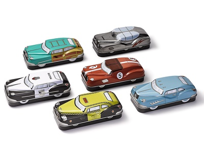 Fossil Car Tins packaging illustration design aaron eiland icons car watch vintage