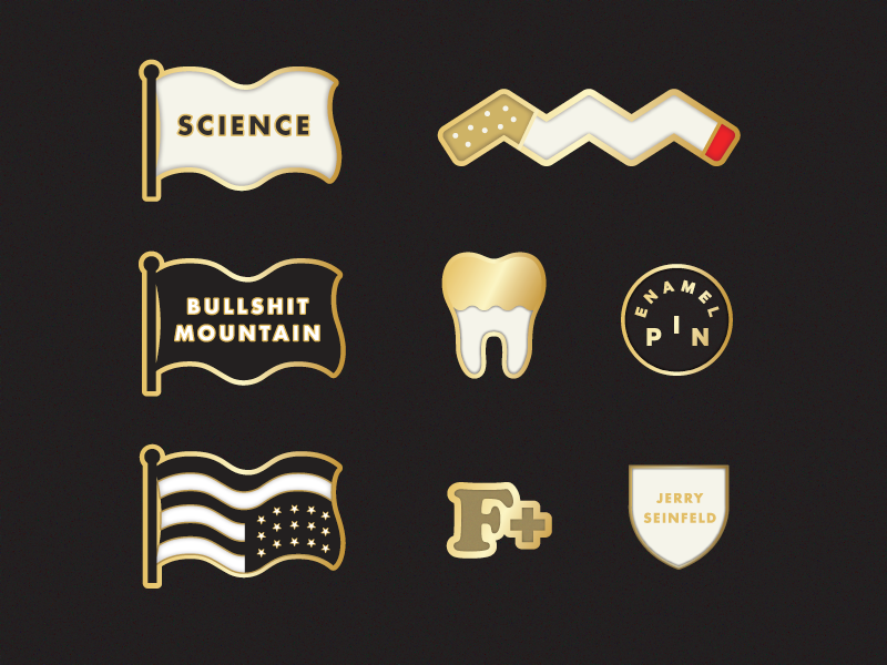 Enamel Pins? tooth science flag cigarette gold vector pin enamel pin