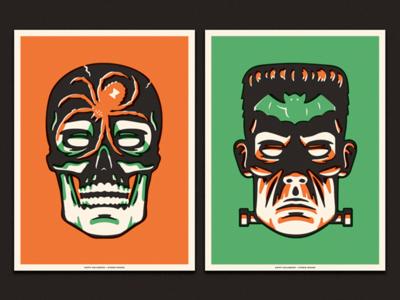 Halloween Posters illustration screen print bat spider frankenstein skull monster poster