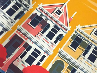 San Francisco Houses print house illustration screenprint san francisco poster