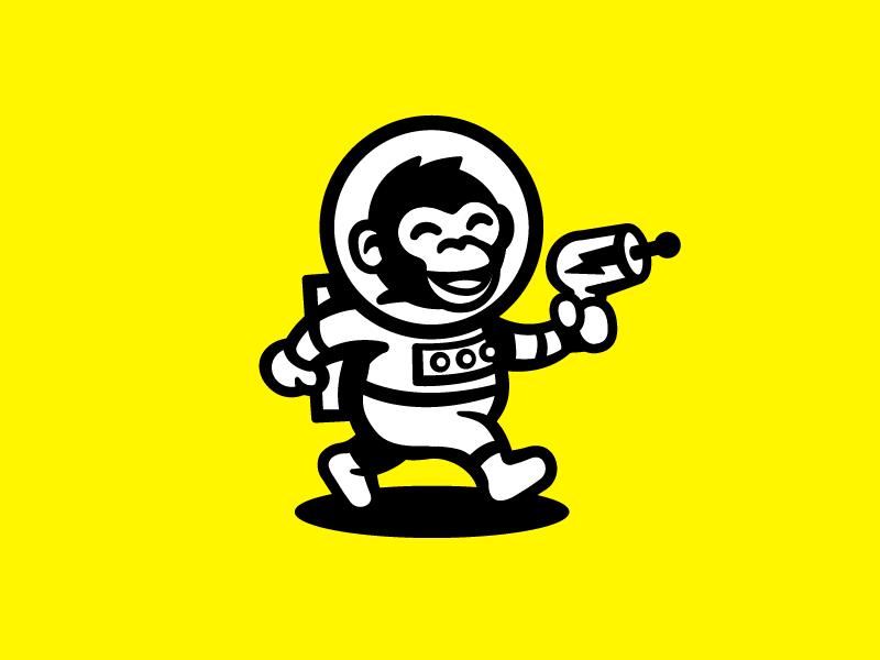 Space Ape yellow space logo mascot illustration monkey chimp ape