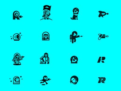 Space Logos raygun astronaut chimp monkey gorilla dog space mascot logo