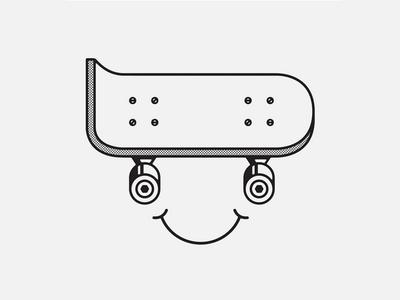 Skate Happy smile shirt apparel skateboard half-tone vector illustration