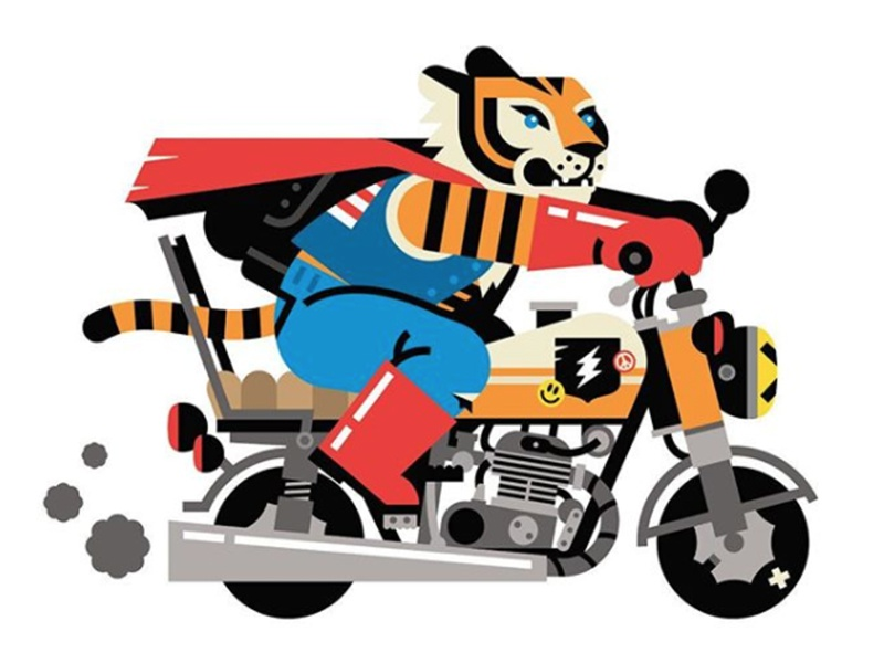 Easy Tiger lines bike tiger motorcycle vector illustration