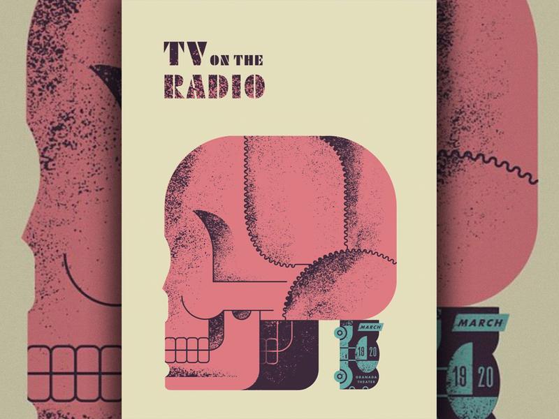 TV tv radio texas car skull screenprint poster