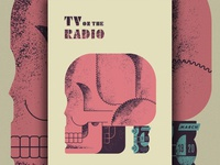 TV tv radio texas car skull screenprint poster
