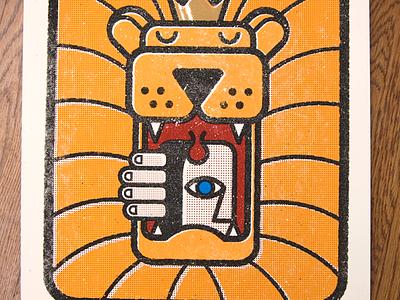 Aesop Rock Poster lion screenprint aesop rock poster orange