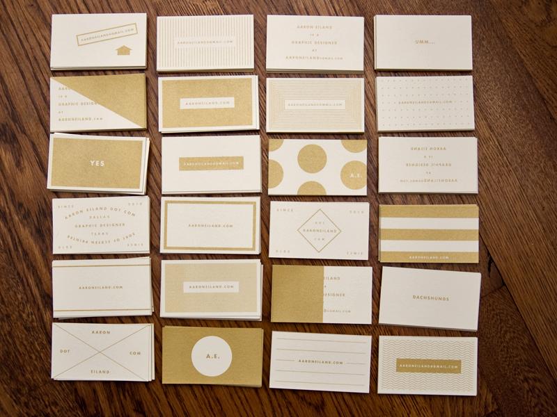 Business Cards business card screen print gold futura aaron eiland design
