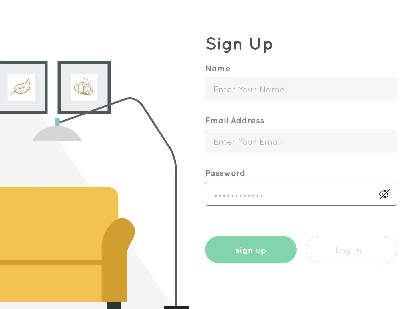 Sign Up-Furniture illustration furniture log in signup branding best designer web website minimal best design xd ui design