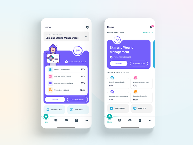 Learning App - Home screen
