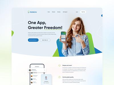 #Concept - Hero Header addaline card girl phone website concept uiux landingpage website