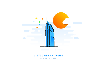 Viecombank Tower cute symbol icon sketch mbe style illustration