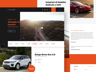 Landing page for rental car sketch app ui  ux web landingpage