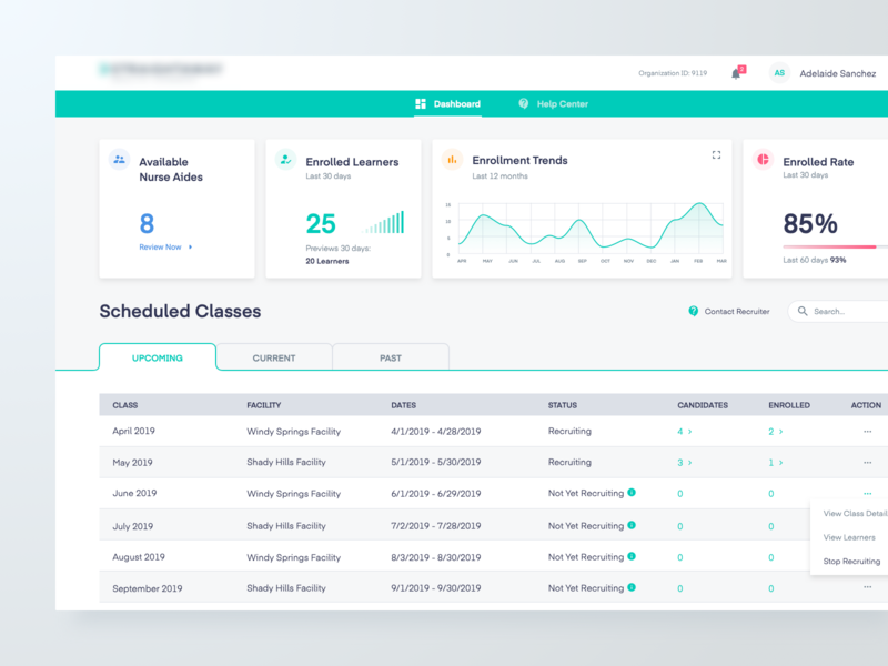 Dashboard Concept nurse lesson lms table chart concept dashboard