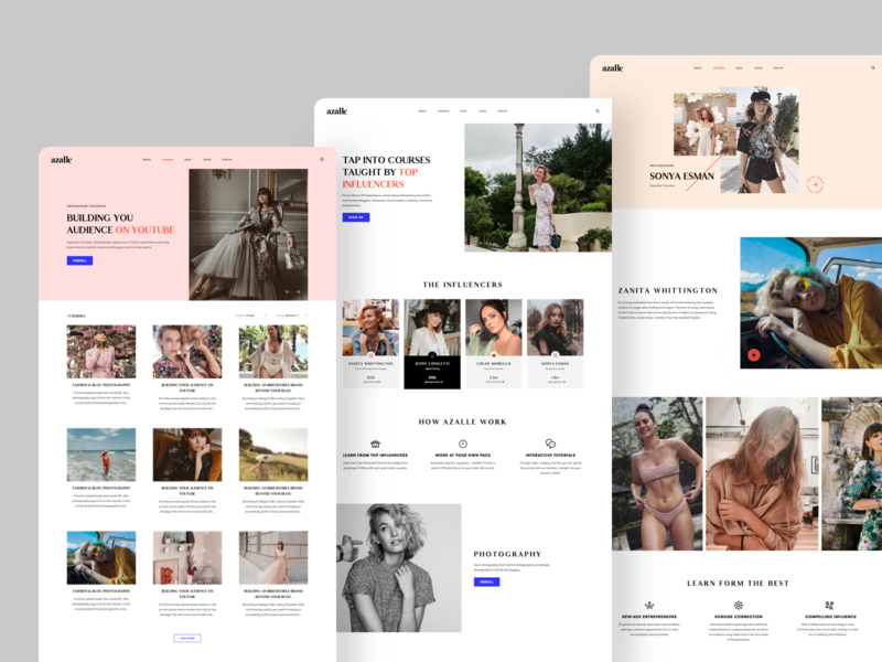 Azalle ux ui design landing page sketch website