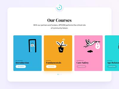 Our Courses illustration ux ui sketch webdesign campus care landingpage