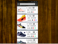 An eCommerce page of a shoe mobile app