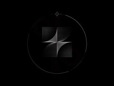 Psychedelic design mark illustraion illusionist swirl illusion bnw circle mood letter z lineart line monolinear monoline