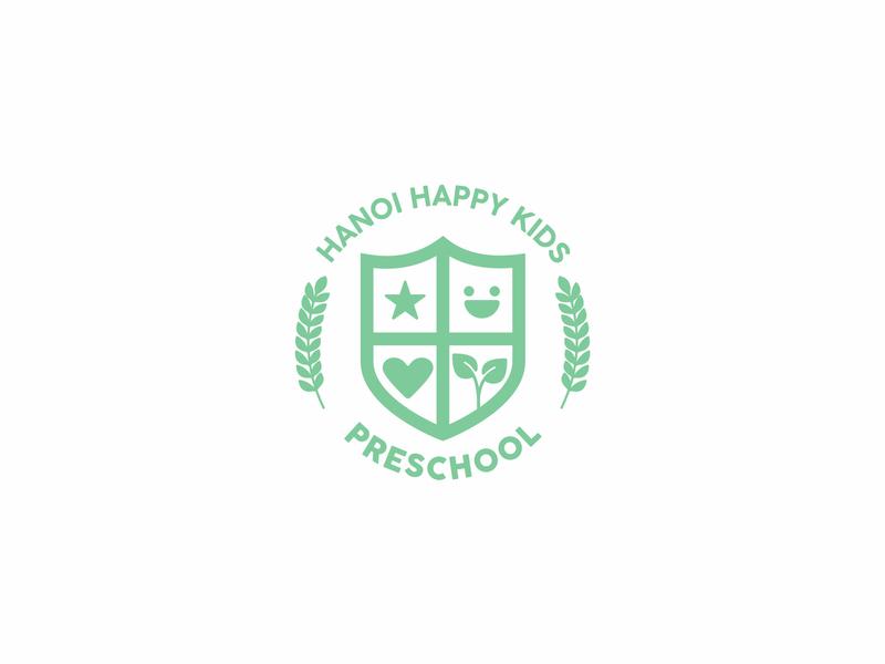 Hanoi Happy Kids Preschool mark crest kindergarten education child kids mint green iillustration school logo school