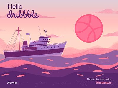 Debut calm basketball steamer floating pink sun dawn dusk website flat illustration typography design web hello dribbble debut boat sea ui illustration