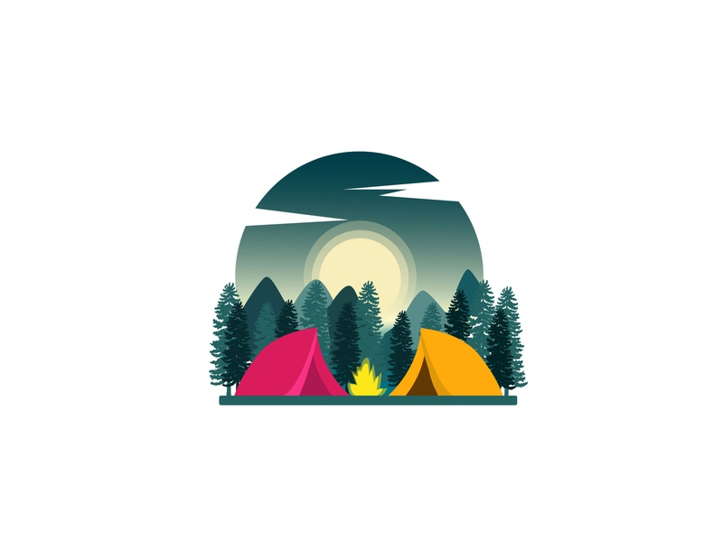 Camping forest animals forest tent fire sky mountain moon camp campfire camping logodesign app artwork appicons branding vector icon logo illustration design