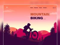 Mountain Biking Landing Page ui landscape design landscape mountains vector artwork mountain bike mountain landing page design illustration