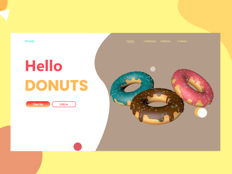 Hello Donuts Home page website minimal flat web 3d art ux ui artwork donuts 3d illustration design