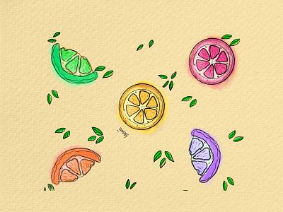 Colors of fruits yellow reel citrus lemon fruitdesign pattern wallart branding artwork design illustration
