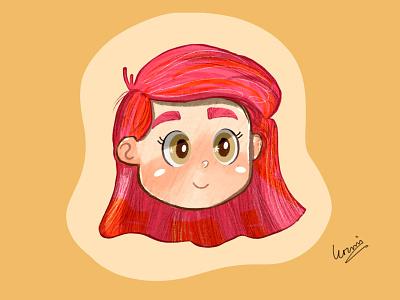 Red Hair Girl art character design drawing cartoon artwork design vector illustration