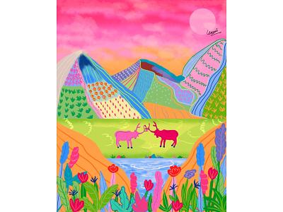 Elks and Mountains colours pink mountains elks landscape vector artwork design illustration