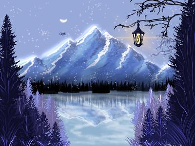 Glowing Mountain art view purple sea blue sky night digital art mountains landscape vector artwork illustration design
