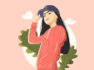 Girl with baseball cap cloud graphic design art straight hair baseball cap girl portrait artwork vector illustration design