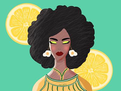 Lemon Girl lemon hairstyle girl vector artwork design illustration