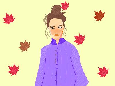 Fall time hairstyle girl art fall graphic design artwork vector illustration design