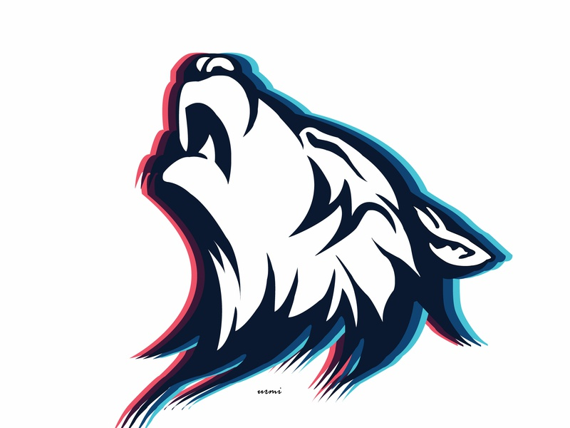 Mighty Wolf wolf howling logo 2019 instagram vector icon illustration design