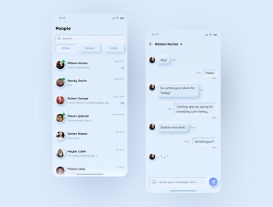 Daily UI 013 (Direct Messaging) recent design light theme inspirational applicationdesign trendy design neomorphic neomorphism minimal clean app typography icon ux design vector ui